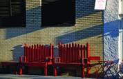 Red benches