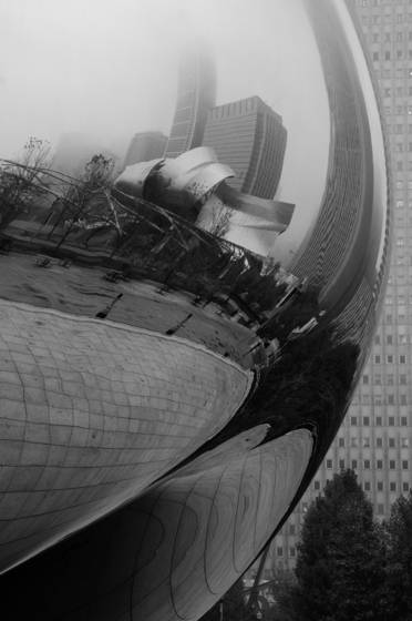 Cloud gate on a rainy day