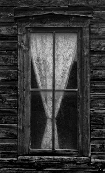 Curtain in abandoned shack