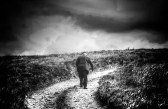 Old man walking home