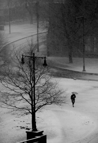 A lone woman in a blizzard