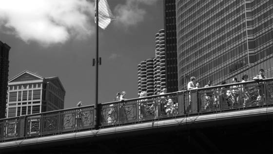 People on bridge