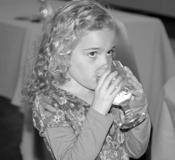 Ava with water glass