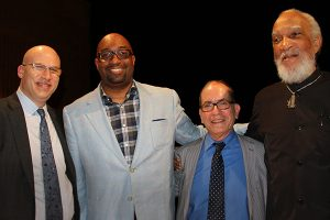 Pictured, left to right: Bank Street President Shael Polakow-Suransky, Writer-in-Residence Kwame Alexander, moderator Leonard Marcus, and Dr. E. Curtis Alexander.