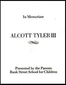 Bookplate for Alcott Tyler III