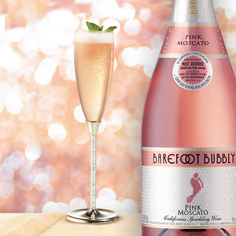 New Year Bubbly Pink Moscato cocktail