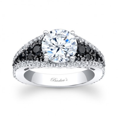 Black & White Diamond Engagement Ring - 7892LBKW