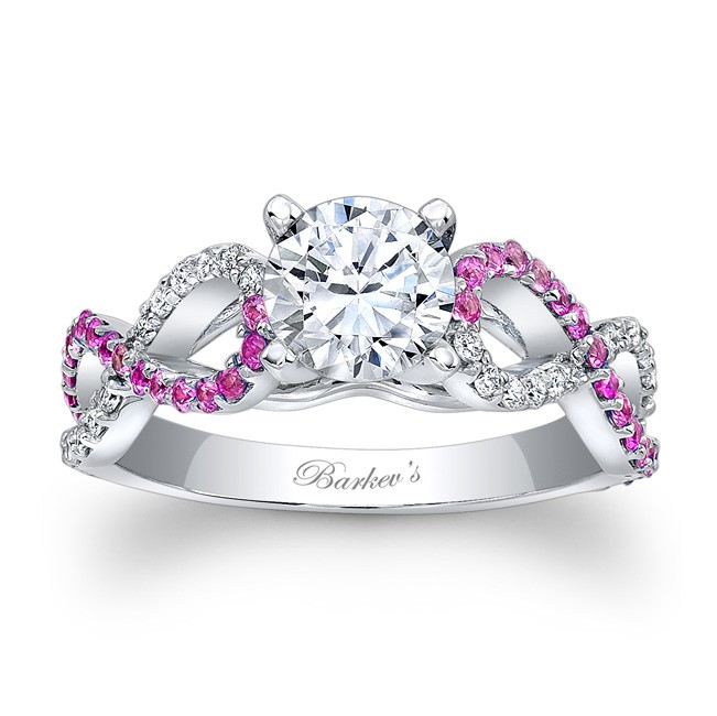 Barkevs Engagement Ring With Pink Sapphires 7714LPSW