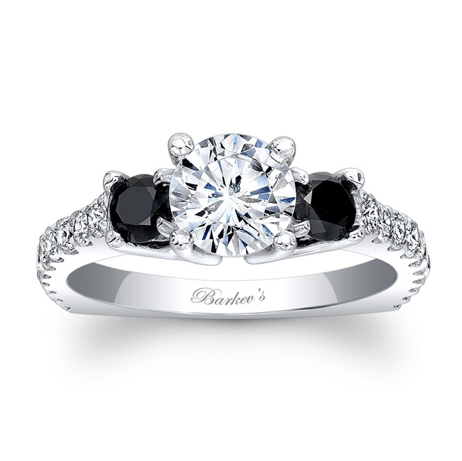 Princess Cut Engagement Rings With Black Diamond Accents