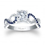 Blue Sapphire Engagement Ring 7714LBSW
