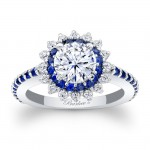 Blue Sapphire Engagement Ring 7969LBSW
