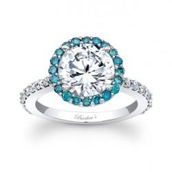 Blue Diamond Halo Engagement Ring 7839LBD