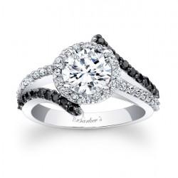 Black Diamond Halo Engagement Ring - 7857LBKW