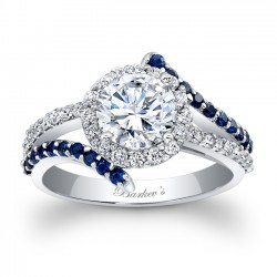 Engagement Ring With Blue Sapphires - 7857LBSW