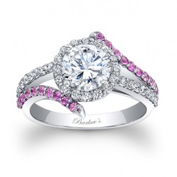 Engagement Ring With Pink Sapphires - 7857LPSW