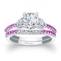 Pink Sapphire Engagement Ring 7539SPSW