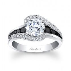 Modern Black Diamond Engagement Ring - 7898LBK