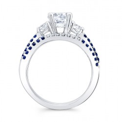 Blue Sapphire Engagement Ring 7539SBSW Profile