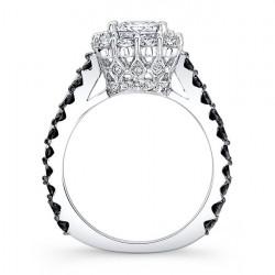 Black Diamond Princess Cut Ring 7939LBKW Profile