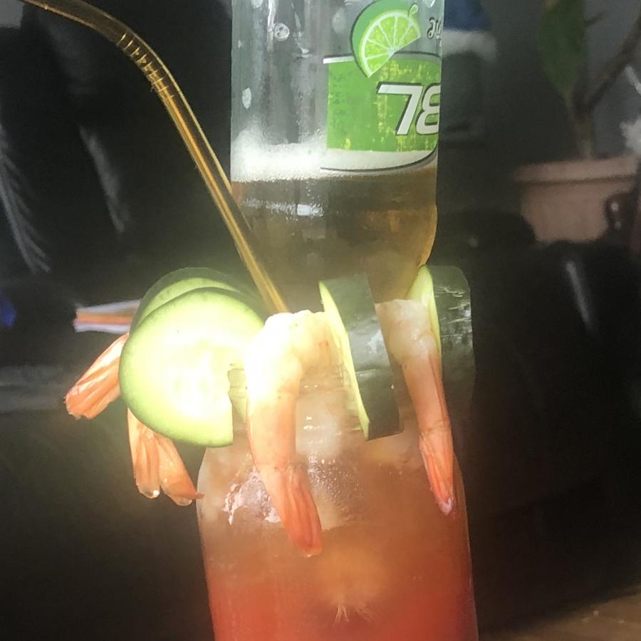 Loaded shrimp michelata