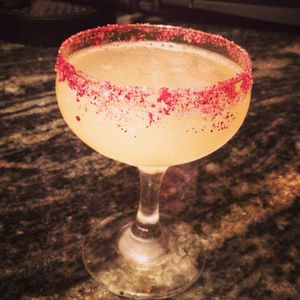 Bergamot Margarita with Hibiscus-Salt Rim