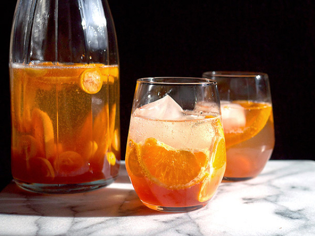 Sparkling and Spiced Winter Sangria with Ginger, Cranberries, Black Pepper and Citrus