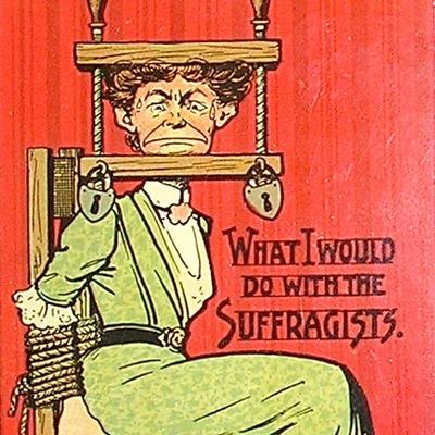 Vintage postcards against women suffrage top