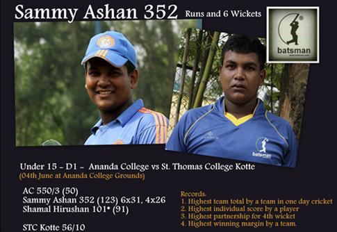 Ananda U15 amass 550 for 3 in 50 overs