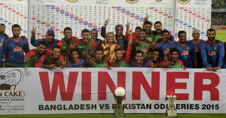 Bangladesh in their maiden T20 triumph over Pakistan