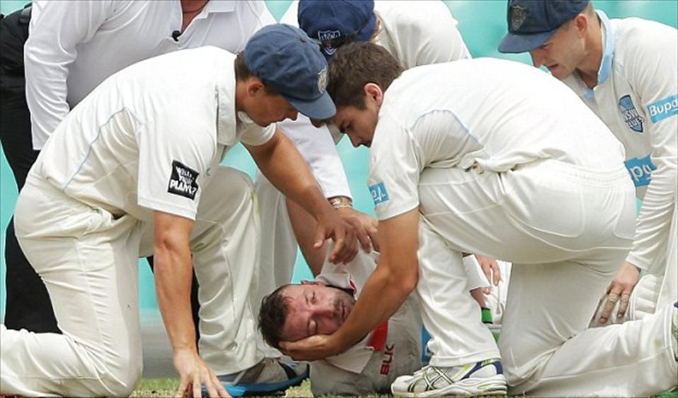 Hughes hospitalised after hit by bouncer