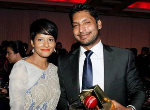 Sangakkara with his beloved wife and two awards