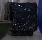 Small square dark blue glass vase