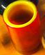 Orange vase with yellow interior