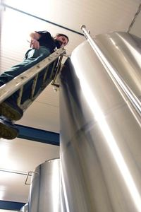 Anders Brewery, fermentation tank, ladder