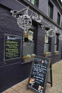 OPCD Café, streetshot, signs