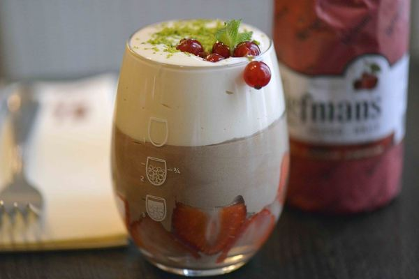 Chocolate mousse with a cold sabayon made with Liefmans Fruitesse