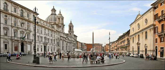Panorama of Rome Piazza Navona