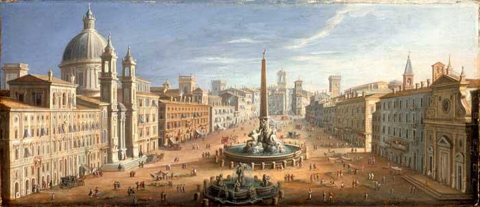 Piazza Navona ca. 1730 by Flemish Painter Hendrik Frans van Lint