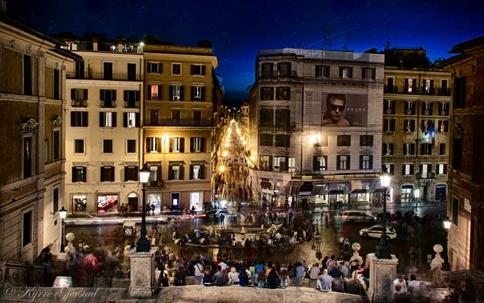 Night View of the Spanish Steps, Rome