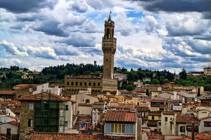Rising Palazzo Vecchio Tower in Florence