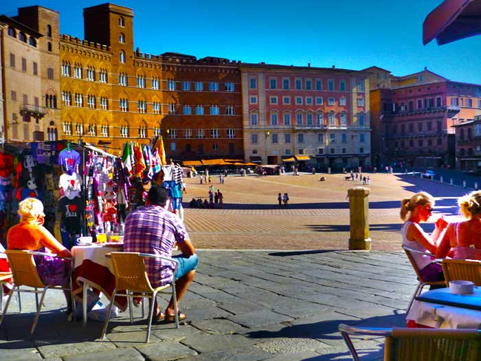 Enjoying a Sunny Day in Piazza del Campo, Siena