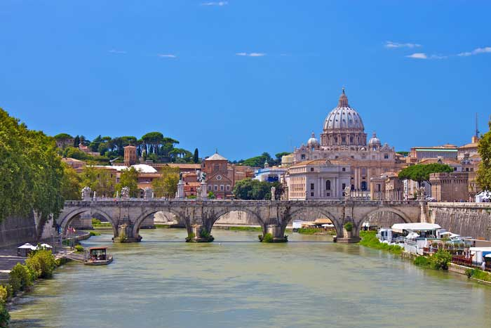 St. Peter's Basilica and Ponte Sant'Angelo, Rome, Italy