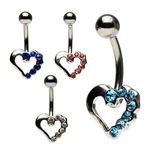 Gem-Studded Heart Belly Button Ring image