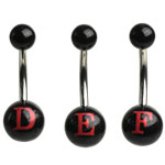 Black/Pink Initial Belly Rings image