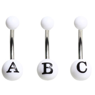 White/Black Initial Belly Button Rings