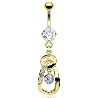 Gold Plated Gem and Fancy Dangle