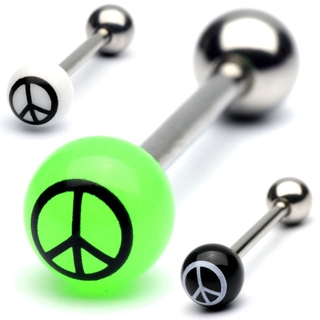 Peace Sign Tongue Ring Barbell with UV Balls