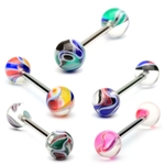 Barbell / Tongue Ring w/ Multi Color Marble Ball image