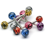 Barbell / Tongue Ring  in Colored Tiger Print image