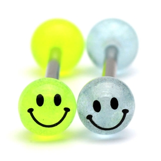Glow in the Dark Smiley Face Tongue Ring / Barbell